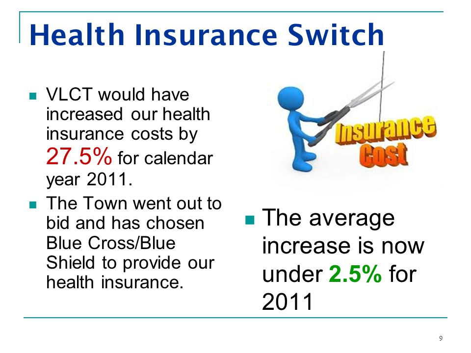 9 Health Insurance Switch VLCT would have increased our health insurance costs by 27.5% for calendar year 2011.