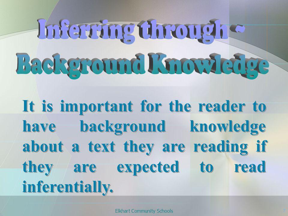 Elkhart Community Schools 8 Word Clues + Experience Inference Word Clues + Experience Inference
