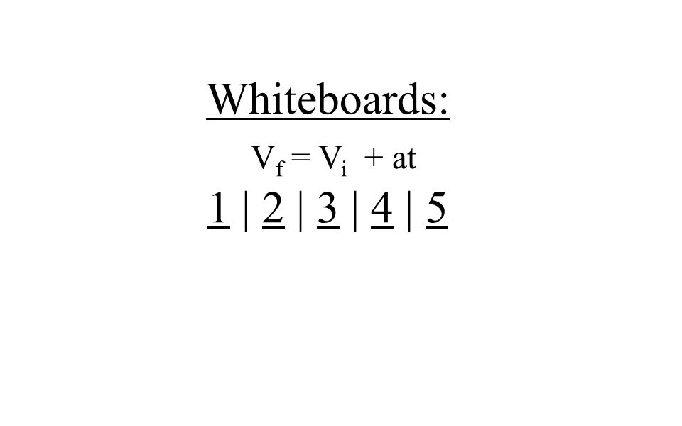 Whiteboards: V f = V i + at 11 | 2 | 3 | 4 | 52345