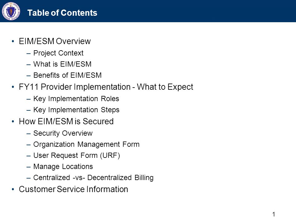 1 Table of Contents EIM/ESM Overview –Project Context –What is EIM/ESM –Benefits of EIM/ESM FY11 Provider Implementation - What to Expect –Key Impleme
