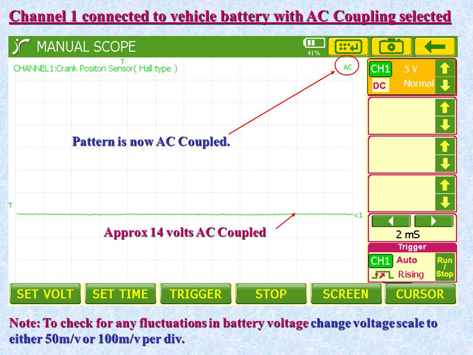 Channel 1 connected to vehicle battery with AC Coupling selected Approx 14 volts AC Coupled Note: To check for any fluctuations in battery voltage cha