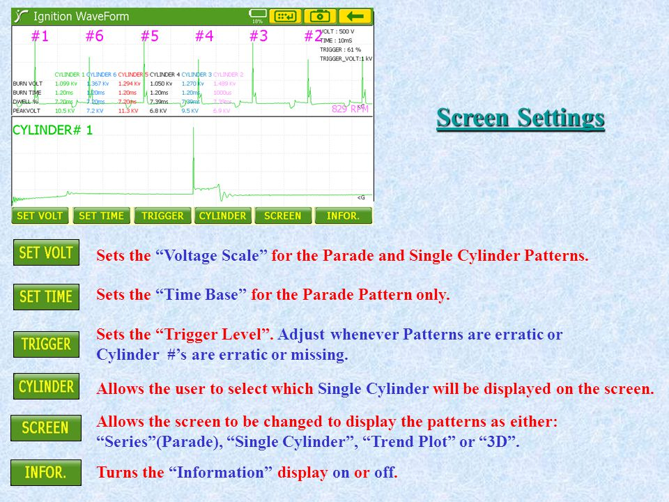 """Sets the """"Voltage Scale"""" for the Parade and Single Cylinder Patterns. Sets the """"Time Base"""" for the Parade Pattern only. Sets the """"Trigger Level"""". Adju"""