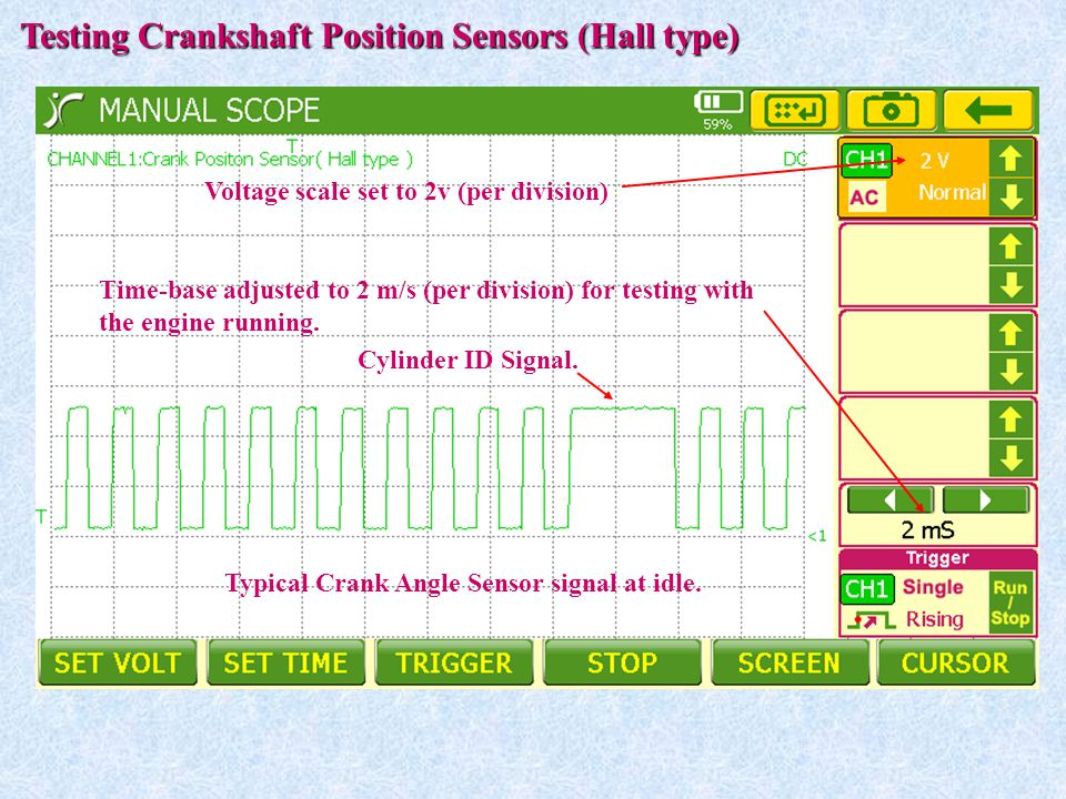 Time-base adjusted to 2 m/s (per division) for testing with the engine running. Testing Crankshaft Position Sensors (Hall type) Voltage scale set to 2
