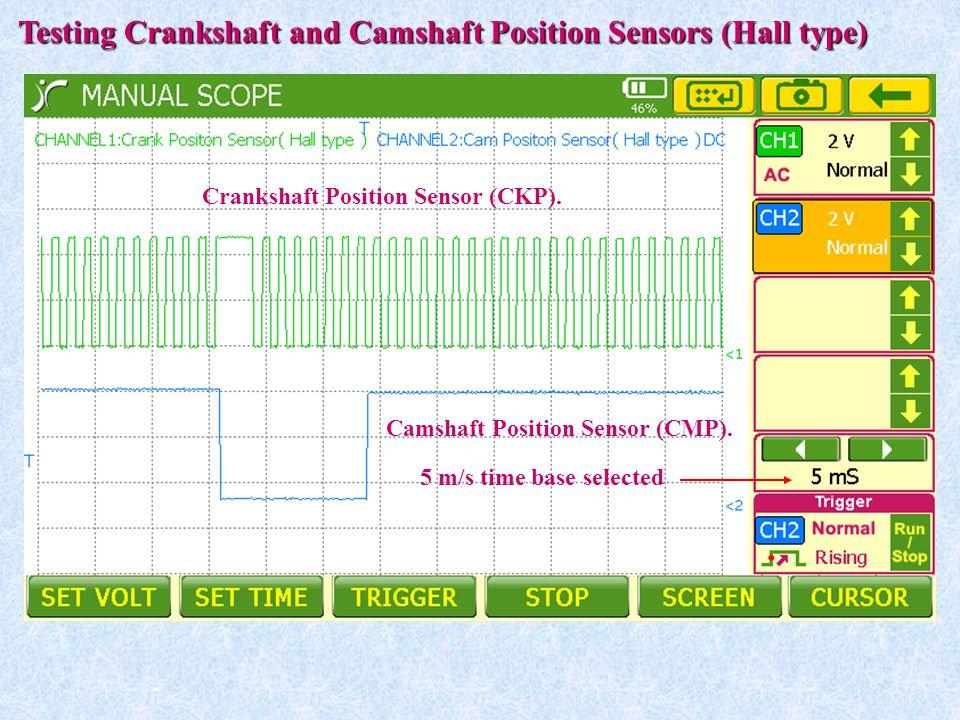 5 m/s time base selected Testing Crankshaft and Camshaft Position Sensors (Hall type) Crankshaft Position Sensor (CKP). Camshaft Position Sensor (CMP)