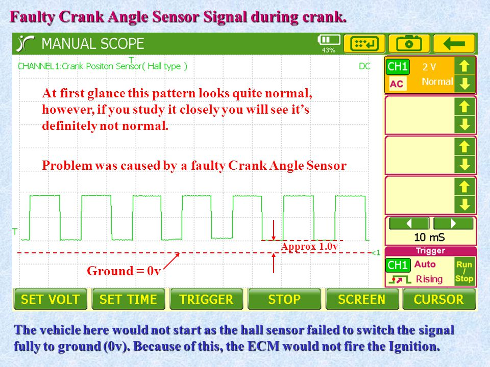 Faulty Crank Angle Sensor Signal during crank. The vehicle here would not start as the hall sensor failed to switch the signal fully to ground (0v). B