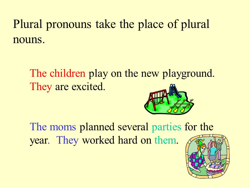 Singular pronouns take the place of singular nouns.