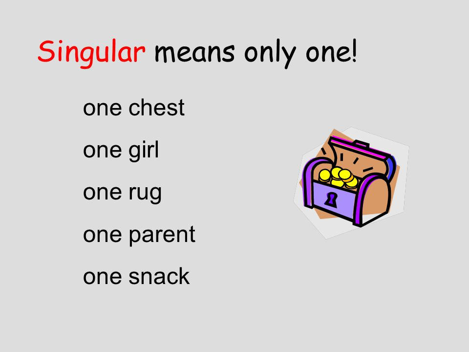 Singular means only one! one chest one girl one rug one parent one snack
