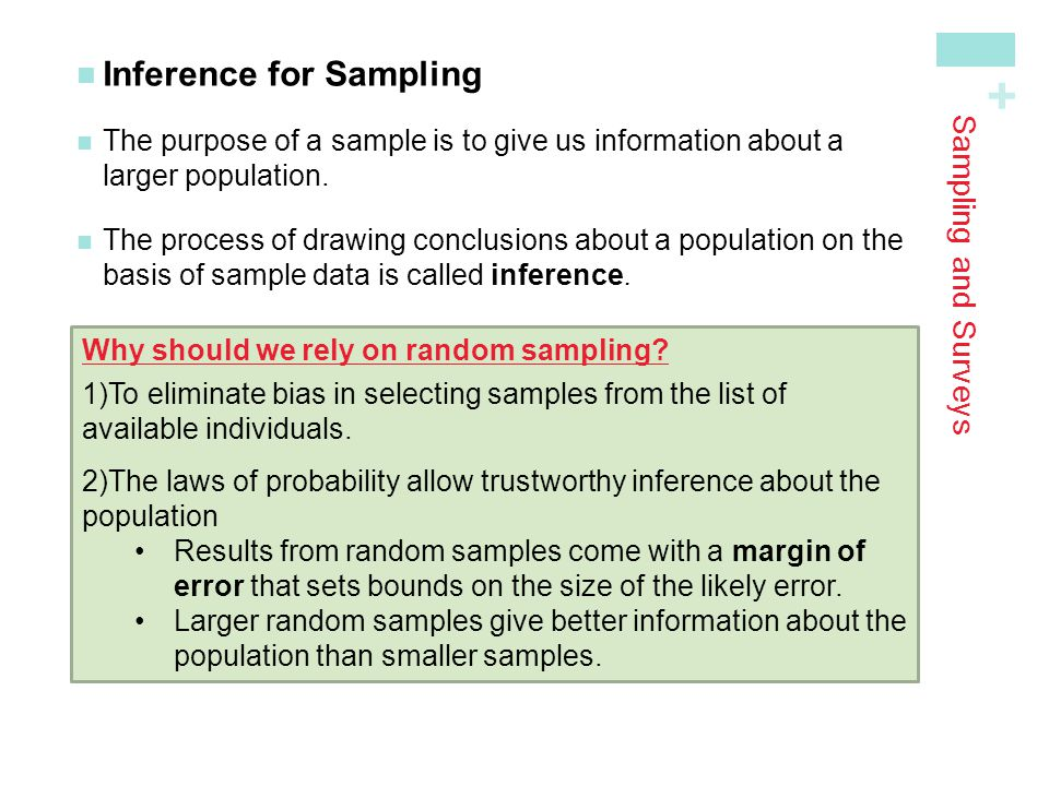 + Sampling and Surveys Inference for Sampling The purpose of a sample is to give us information about alarger population.
