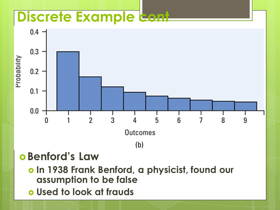 Discrete Example cont  Benford's Law  In 1938 Frank Benford, a physicist, found our assumption to be false  Used to look at frauds