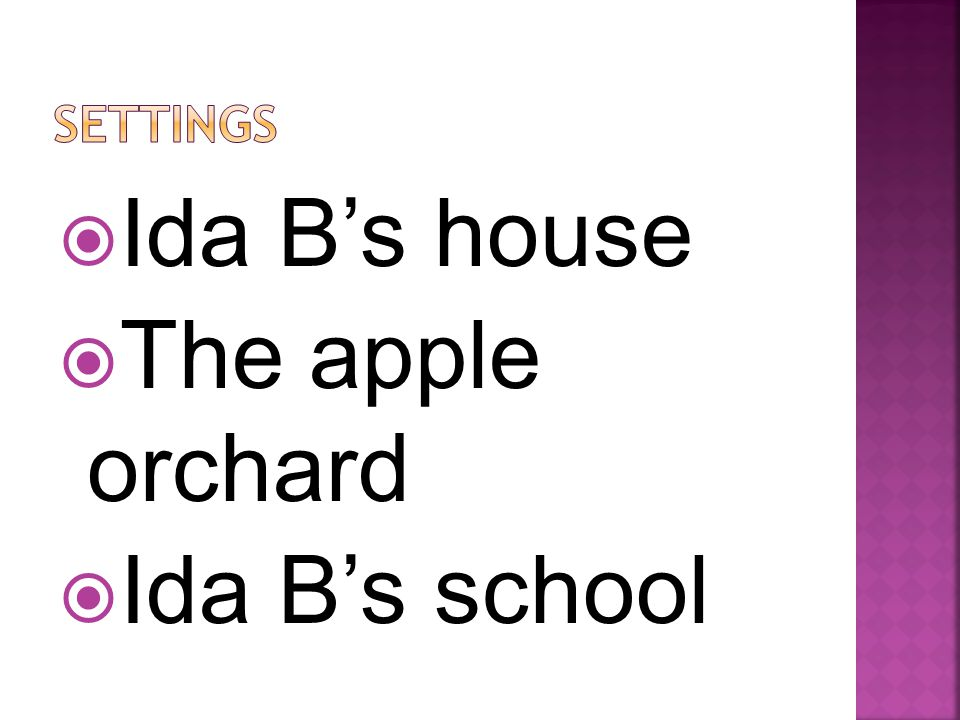 IIda B's house TThe apple orchard IIda B's school