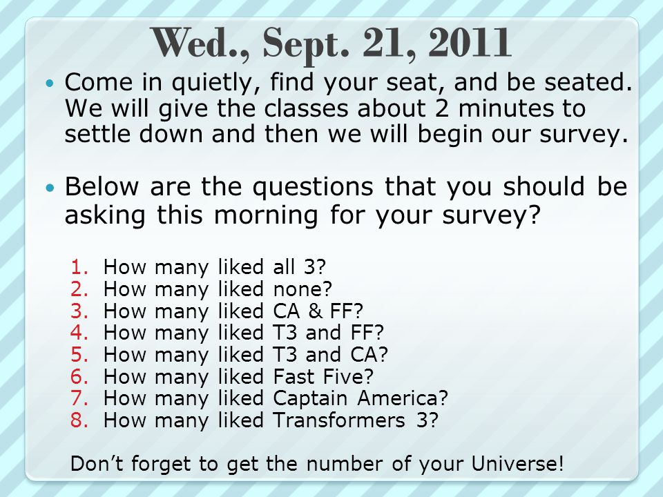 Thurs., Sept.22, 2011 Come in quietly, find your seat, be seated and begin starter.
