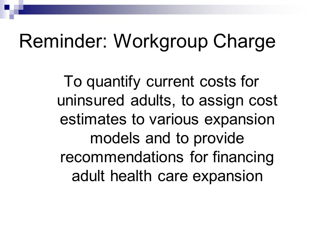 Reminder: Workgroup Charge To quantify current costs for uninsured adults, to assign cost estimates to various expansion models and to provide recommendations for financing adult health care expansion