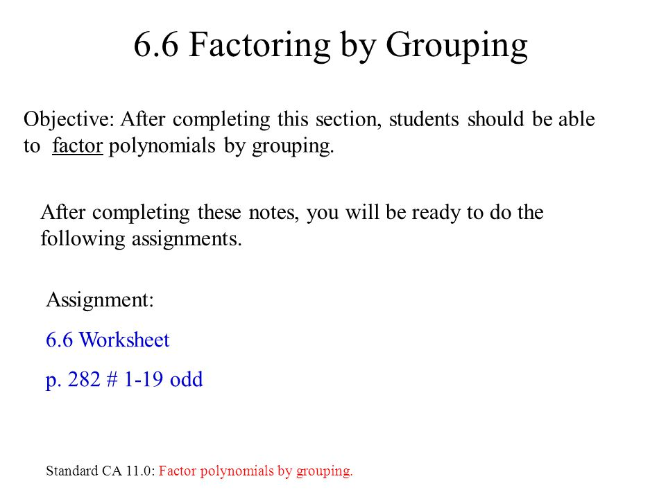 Worksheet Factoring By Grouping Worksheet 6 factoring by grouping assignment worksheet p 282 1 19 odd