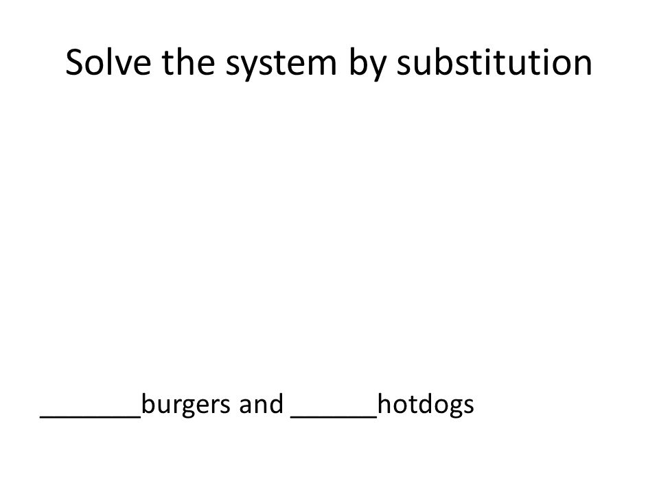 Solve the system by substitution _______burgers and ______hotdogs