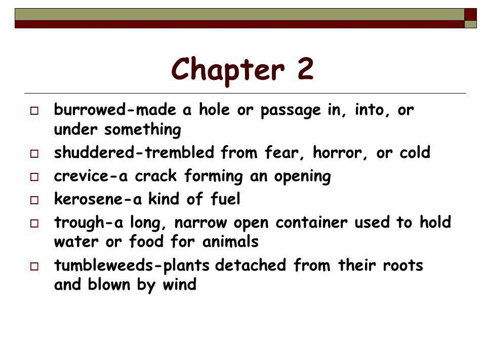 Chapter 2  burrowed-made a hole or passage in, into, or under something  shuddered-trembled from fear, horror, or cold  crevice-a crack forming an opening  kerosene-a kind of fuel  trough-a long, narrow open container used to hold water or food for animals  tumbleweeds-plants detached from their roots and blown by wind