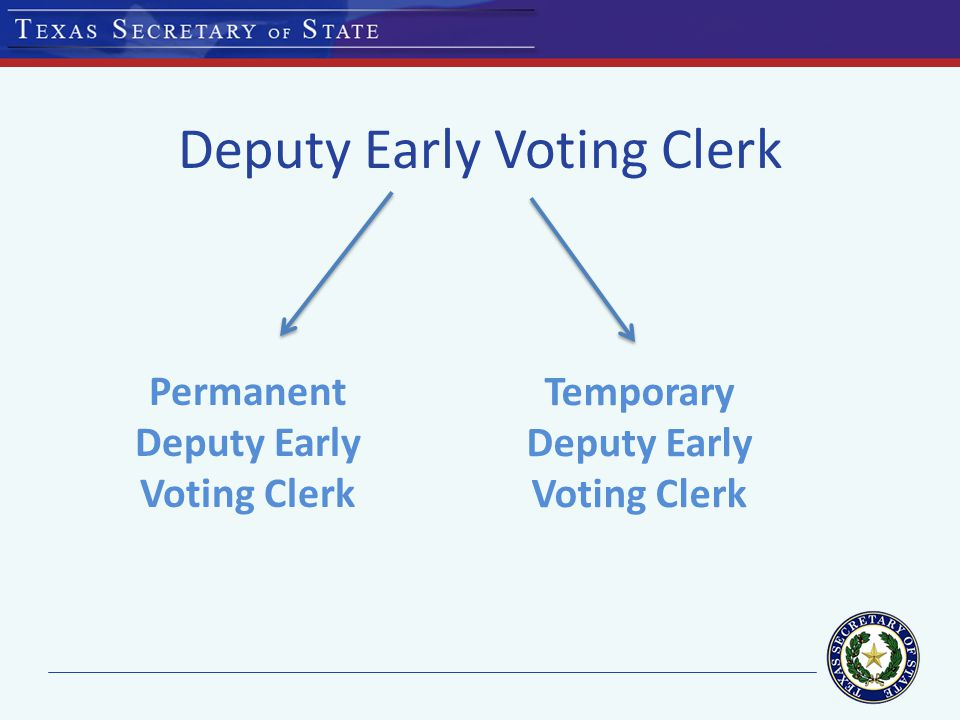 Deputy Early Voting Clerk Permanent Deputy Early Voting Clerk Temporary Deputy Early Voting Clerk