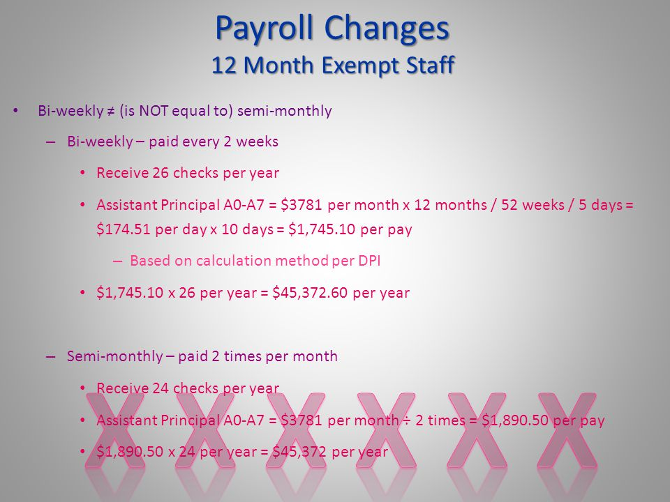 Bi-weekly ≠ (is NOT equal to) semi-monthly – Bi-weekly – paid every 2 weeks Receive 26 checks per year Assistant Principal A0-A7 = $3781 per month x 12 months / 52 weeks / 5 days = $174.51 per day x 10 days = $1,745.10 per pay – Based on calculation method per DPI $1,745.10 x 26 per year = $45,372.60 per year – Semi-monthly – paid 2 times per month Receive 24 checks per year Assistant Principal A0-A7 = $3781 per month ÷ 2 times = $1,890.50 per pay $1,890.50 x 24 per year = $45,372 per year Payroll Changes 12 Month Exempt Staff