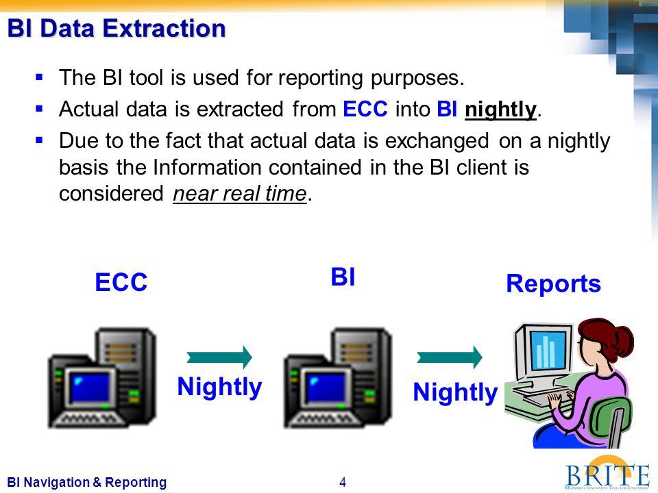 4BI Navigation & Reporting BI Data Extraction  The BI tool is used for reporting purposes.