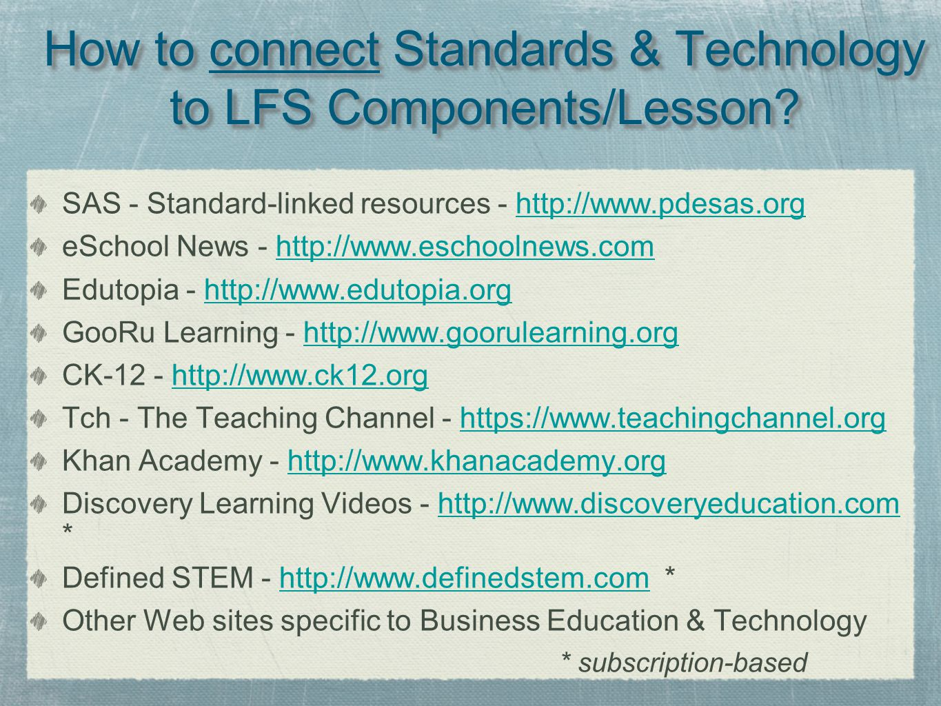 How to connect Standards & Technology to LFS Components/Lesson.