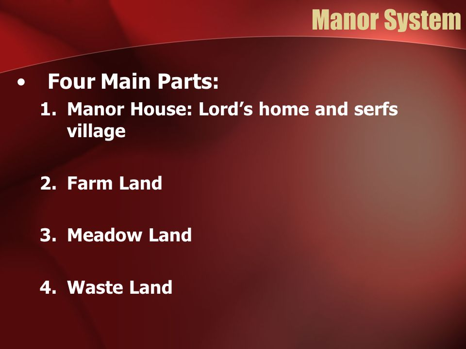 Manor System Four Main Parts: 1.Manor House: Lord's home and serfs village 2.Farm Land 3.Meadow Land 4.Waste Land