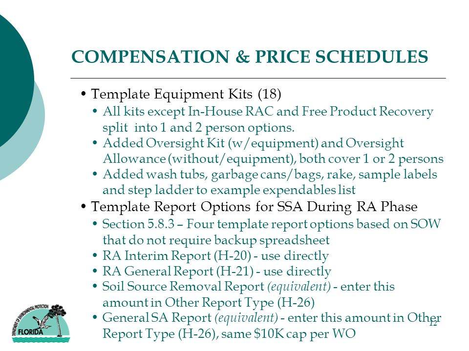 12 COMPENSATION & PRICE SCHEDULES Template Equipment Kits (18) All kits except In-House RAC and Free Product Recovery split into 1 and 2 person options.