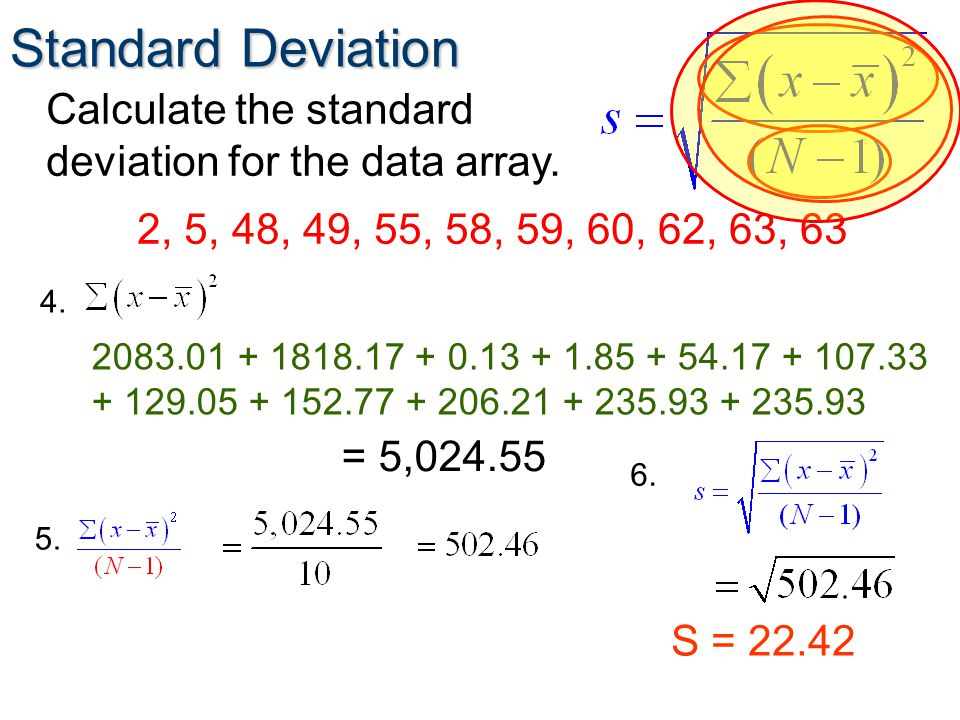 Standard Deviation 2, 5, 48, 49, 55, 58, 59, 60, 62, 63, 63 Calculate the standard deviation for the data array.