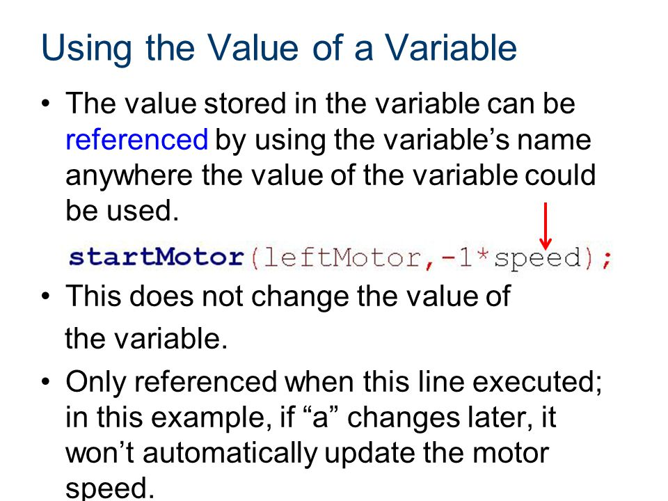 Using the Value of a Variable The value stored in the variable can be referenced by using the variable's name anywhere the value of the variable could be used.