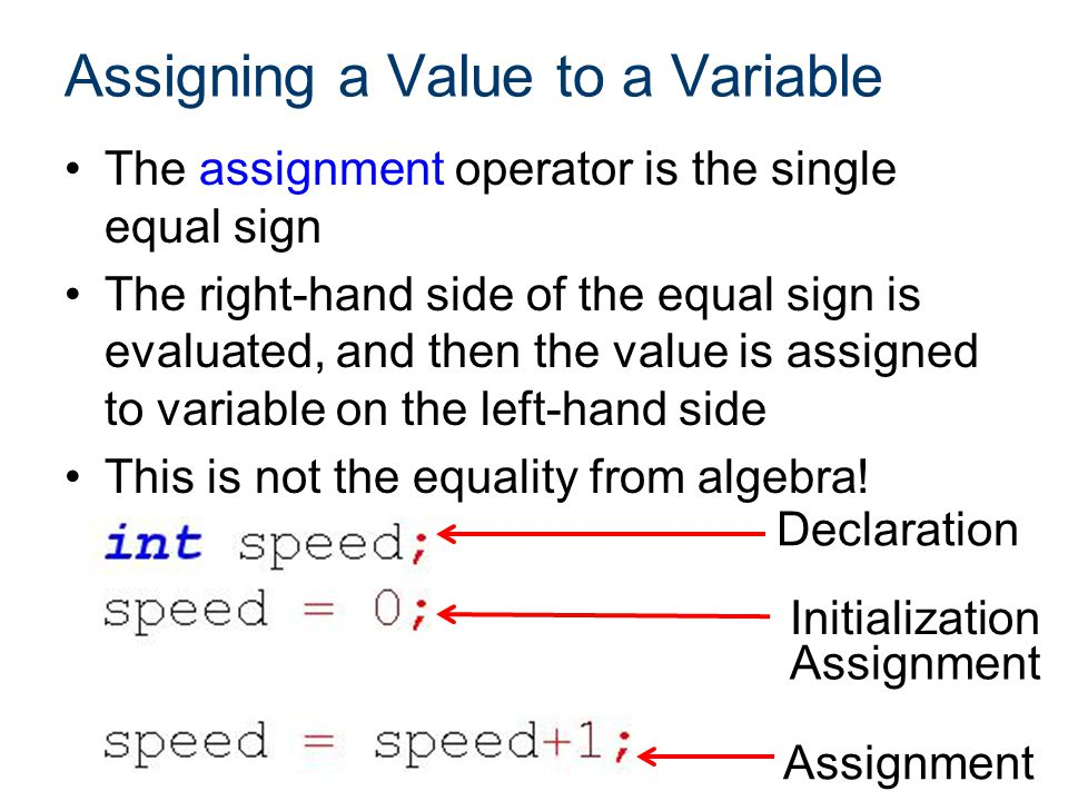Assigning a Value to a Variable The left-hand side of the assignment operator must be a variable.