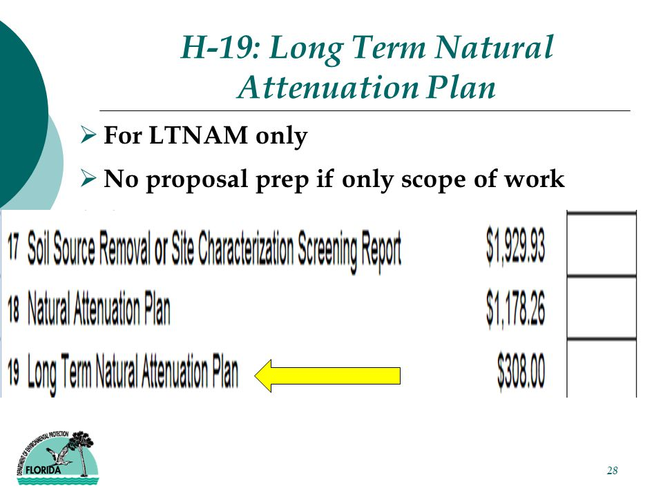 H-19: Long Term Natural Attenuation Plan  For LTNAM only  No proposal prep if only scope of work 28