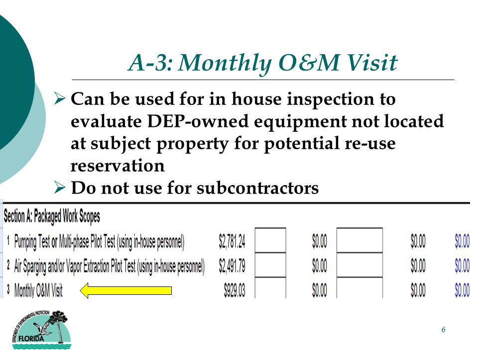 6 A-3: Monthly O&M Visit  Can be used for in house inspection to evaluate DEP-owned equipment not located at subject property for potential re-use reservation  Do not use for subcontractors