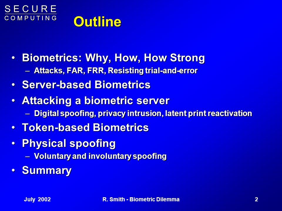 S E C U R E C O M P U T I N G July 20021R. Smith - Biometric Dilemma The Biometric Dilemma Rick Smith, Ph.D., CISSP rick_smith@securecomputing.com 28