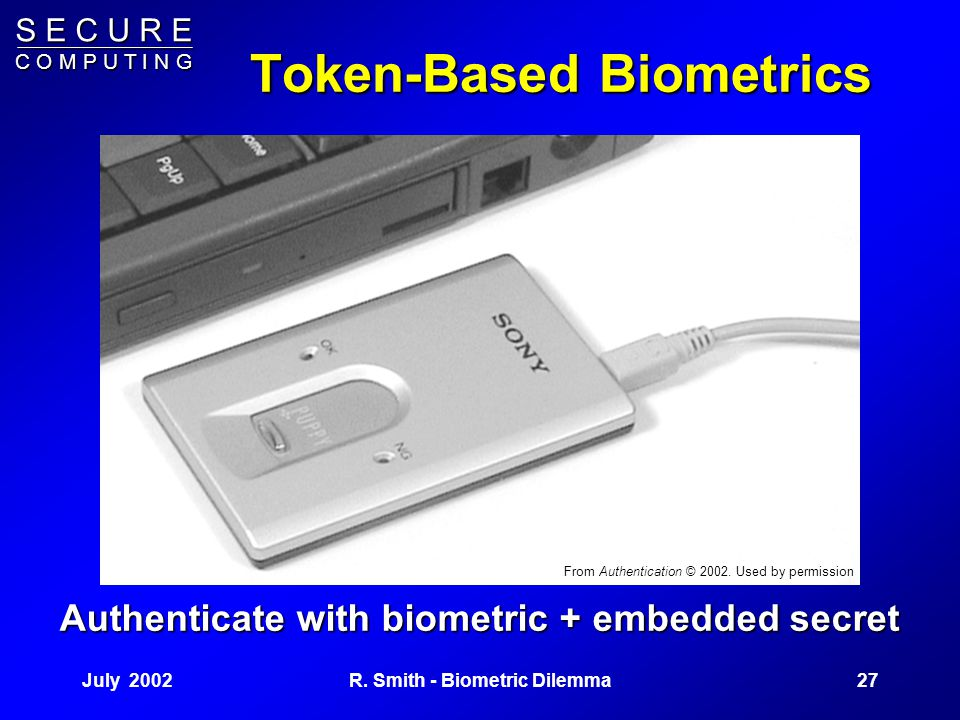 S E C U R E C O M P U T I N G July 200226R. Smith - Biometric Dilemma Attacking Active Biometrics A feasible dynamic attack uses the system's algorith