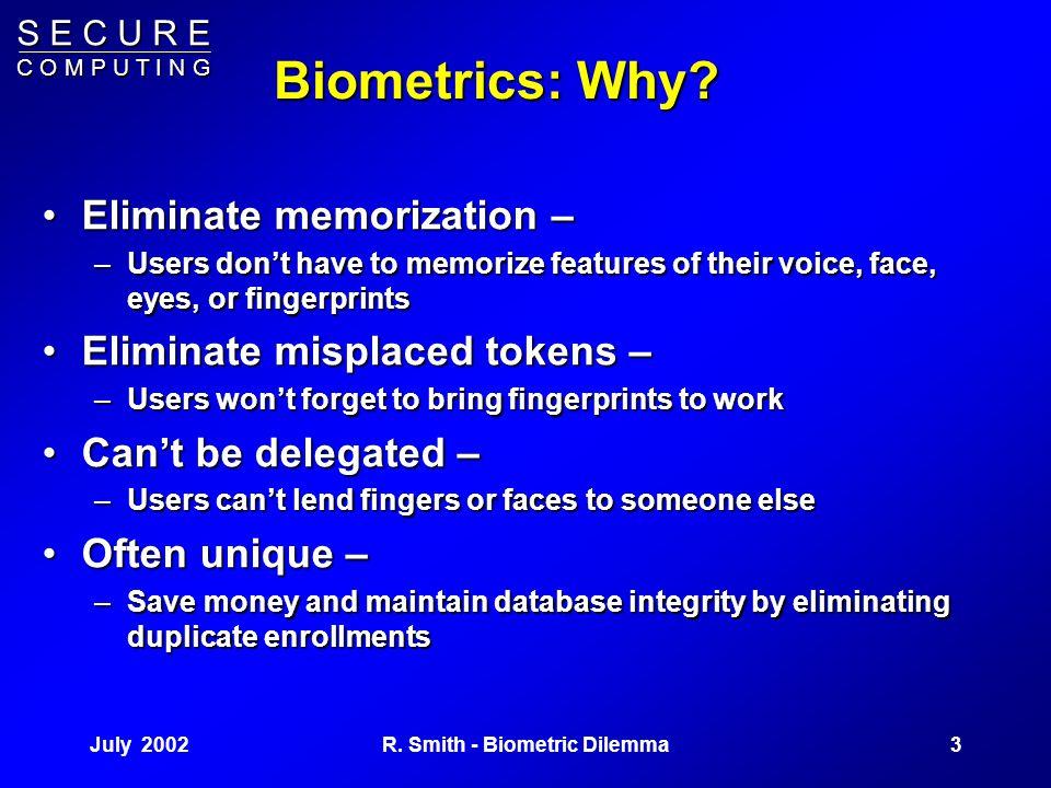 S E C U R E C O M P U T I N G July 20022R. Smith - Biometric Dilemma Outline Biometrics: Why, How, How StrongBiometrics: Why, How, How Strong –Attacks