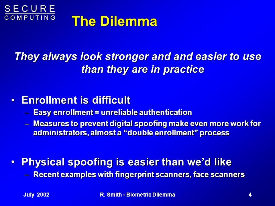 S E C U R E C O M P U T I N G July 20023R. Smith - Biometric Dilemma Biometrics: Why? Eliminate memorization –Eliminate memorization – –Users don't ha