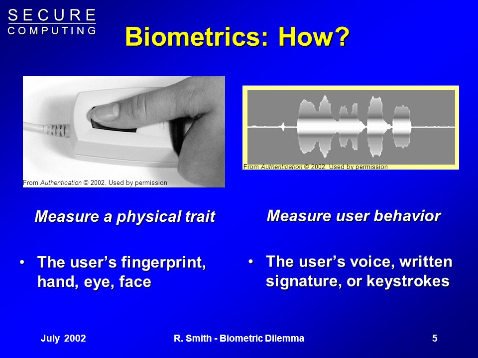 S E C U R E C O M P U T I N G July 20024R. Smith - Biometric Dilemma The Dilemma They always look stronger and and easier to use than they are in prac