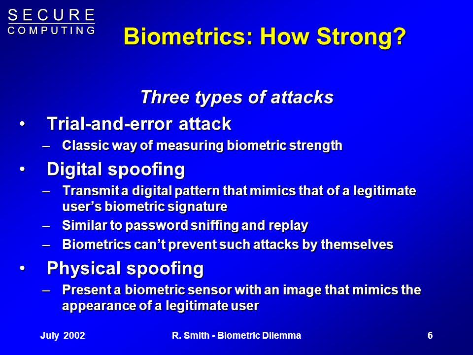 S E C U R E C O M P U T I N G July 20025R. Smith - Biometric Dilemma Biometrics: How? Measure a physical trait The user's fingerprint, hand, eye, face