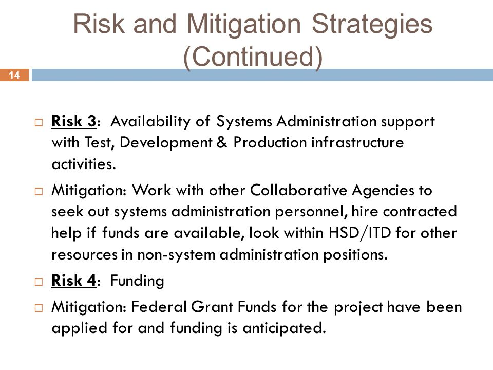 14 Risk and Mitigation Strategies (Continued)  Risk 3: Availability of Systems Administration support with Test, Development & Production infrastructure activities.