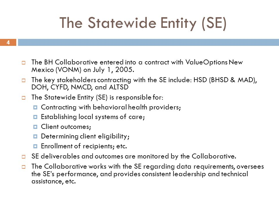 4 The Statewide Entity (SE)  The BH Collaborative entered into a contract with ValueOptions New Mexico (VONM) on July 1, 2005.