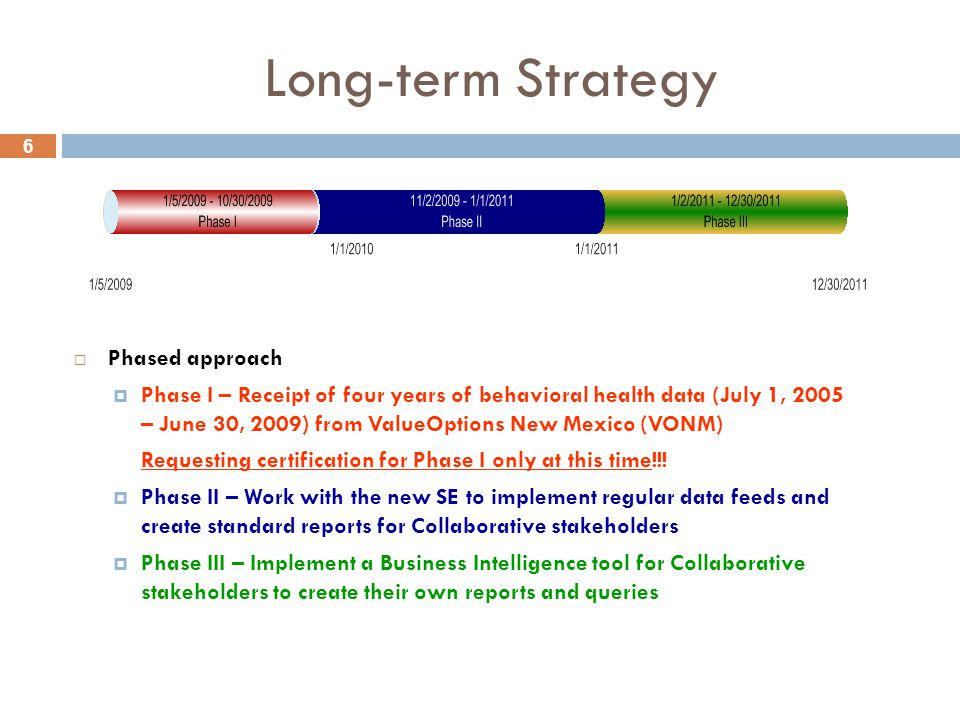 6 Long-term Strategy  Phased approach  Phase I – Receipt of four years of behavioral health data (July 1, 2005 – June 30, 2009) from ValueOptions New Mexico (VONM) Requesting certification for Phase I only at this time!!.