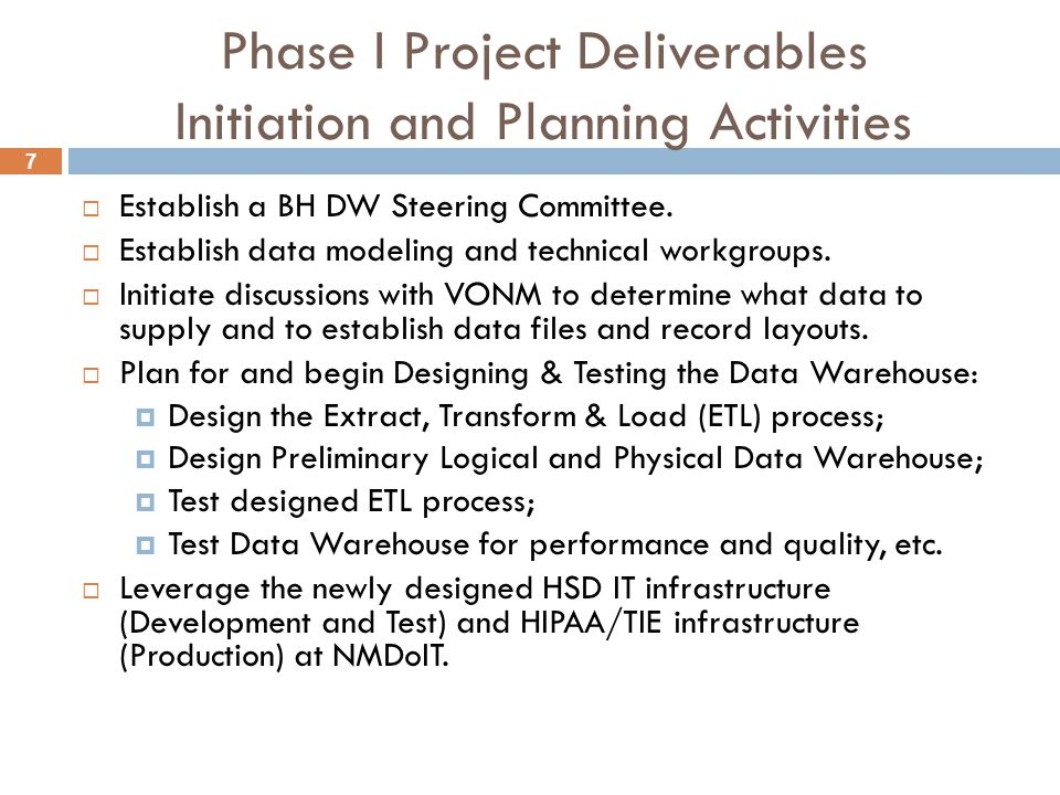 7 Phase I Project Deliverables Initiation and Planning Activities  Establish a BH DW Steering Committee.