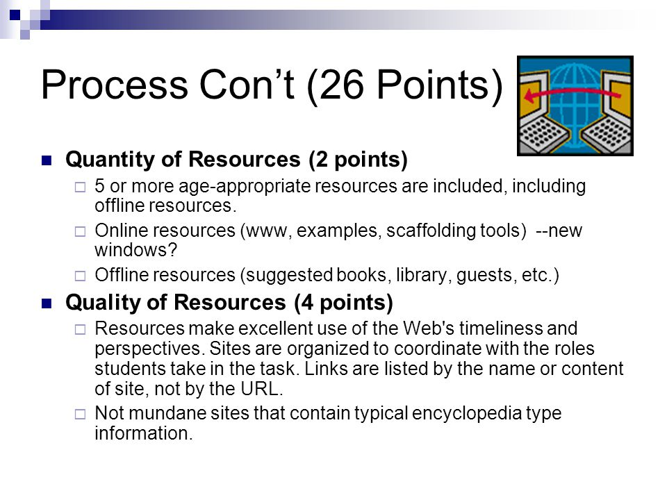Process Con't (26 Points) Quantity of Resources (2 points)  5 or more age-appropriate resources are included, including offline resources.  Online r