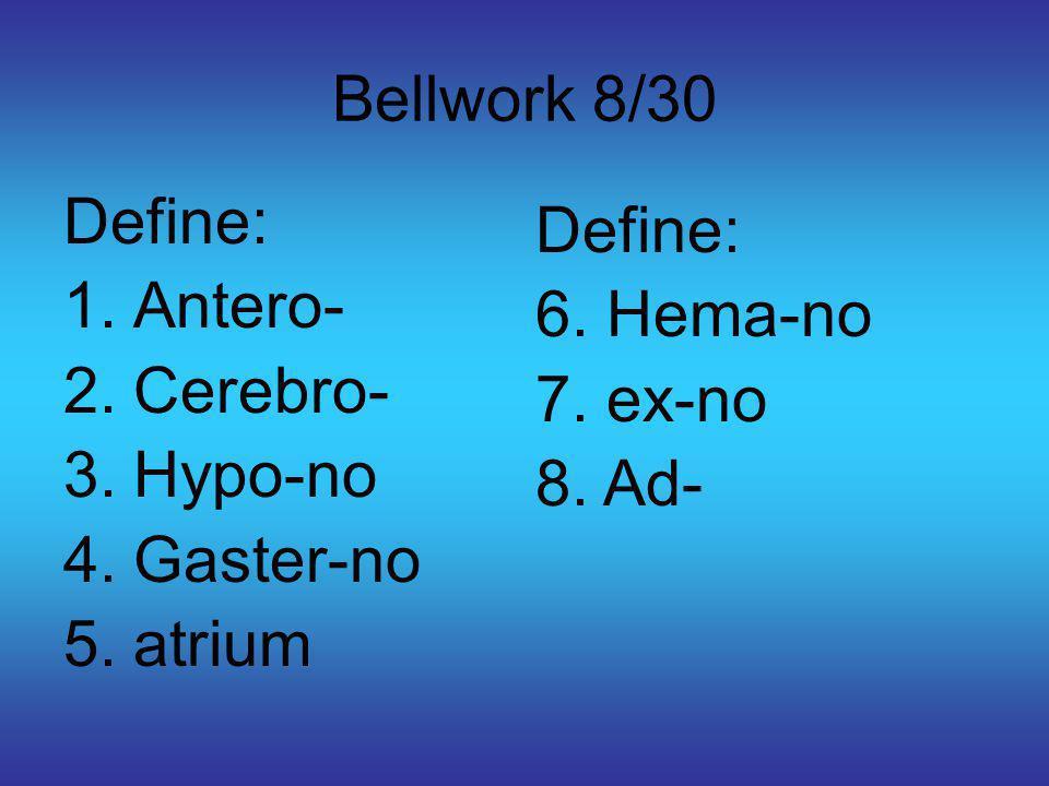 Bellwork 8/30 Define: 1.Antero- 2.Cerebro- 3.Hypo-no 4.Gaster-no 5.atrium Define: 6.