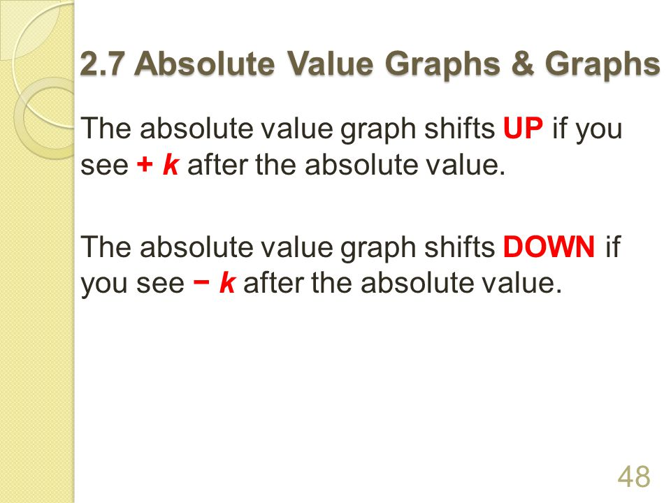 2.7 Absolute Value Graphs & Graphs VERTEX FORM OF AN ABSOLUTE VALUE GRAPH 47