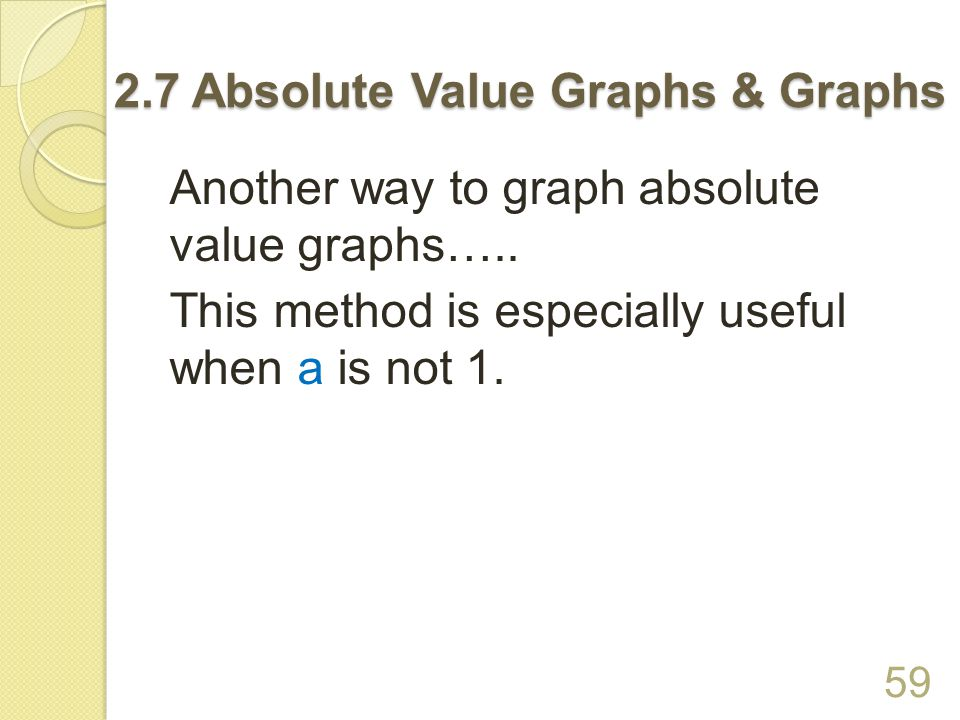 The absolute value graph is STRETCHED BY A FACTOR OF a if a > 1.