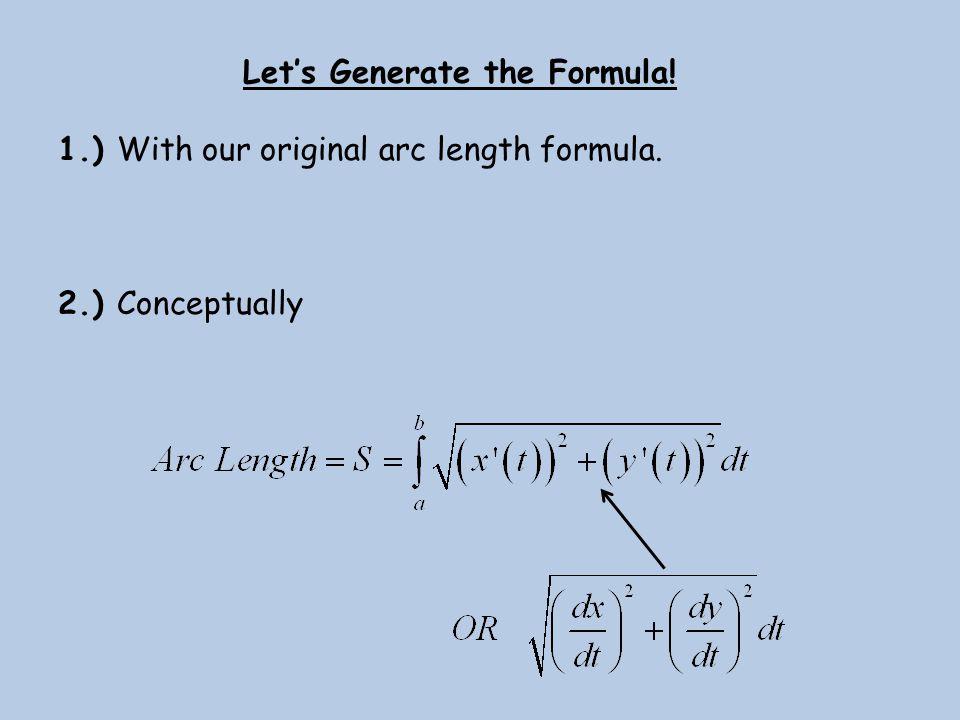 Let's Generate the Formula! 1.) With our original arc length formula. 2.) Conceptually