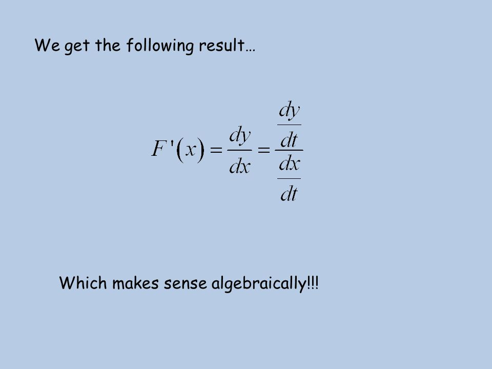 We get the following result… Which makes sense algebraically!!!