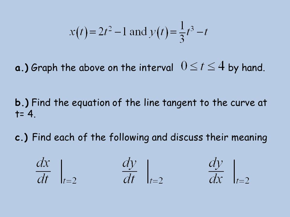 a.) Graph the above on the interval by hand. b.) Find the equation of the line tangent to the curve at t= 4. c.) Find each of the following and discus