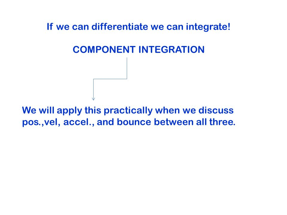 If we can differentiate we can integrate.