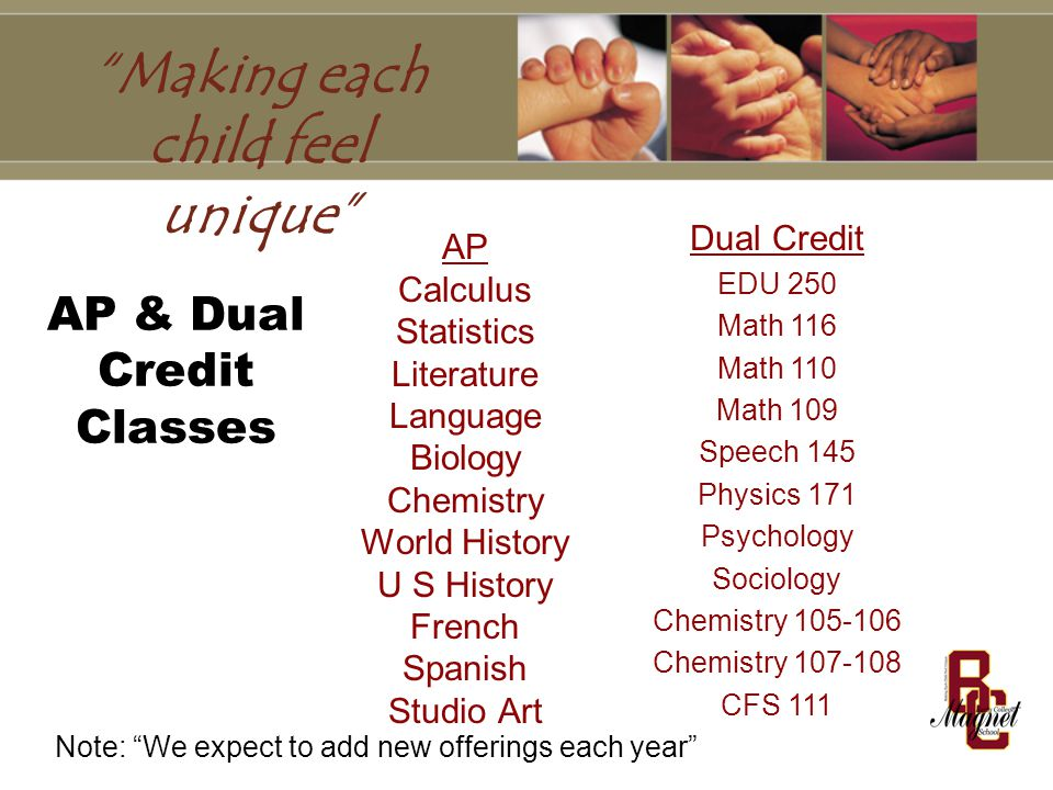 AP & Dual Credit Classes AP Calculus Statistics Literature Language Biology Chemistry World History U S History French Spanish Studio Art Dual Credit EDU 250 Math 116 Math 110 Math 109 Speech 145 Physics 171 Psychology Sociology Chemistry Chemistry CFS 111 Note: We expect to add new offerings each year Making each child feel unique