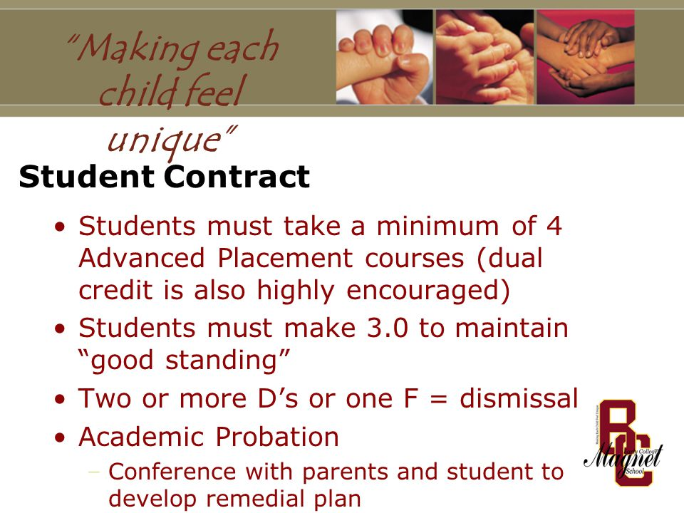 Student Contract Students must take a minimum of 4 Advanced Placement courses (dual credit is also highly encouraged) Students must make 3.0 to maintain good standing Two or more D's or one F = dismissal Academic Probation –Conference with parents and student to develop remedial plan –If successful, good standing returned –If not, student dismissed from program Making each child feel unique